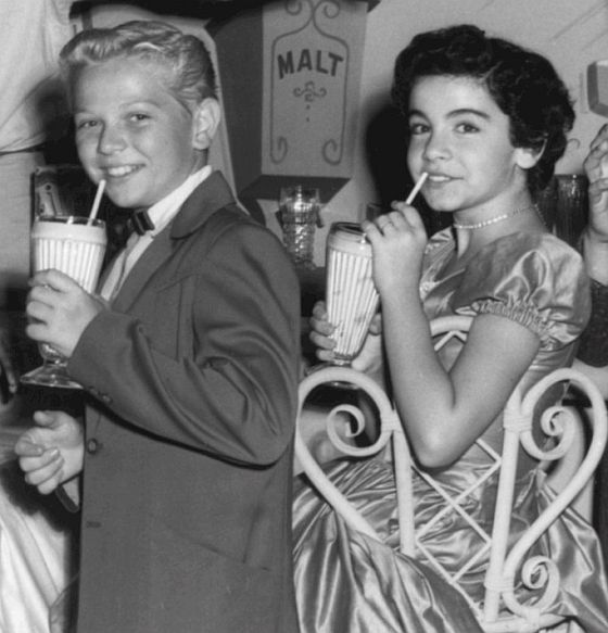 At the Malt Shoppe with my girlfriend, Annette. 1955.