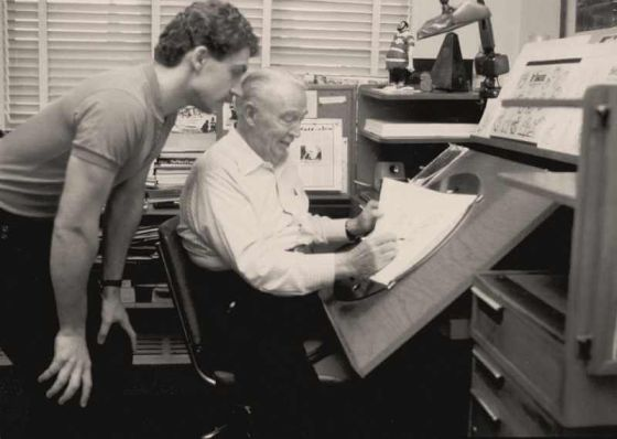Disney animator Andreas Deja, left, with Eric Larson, 1980.