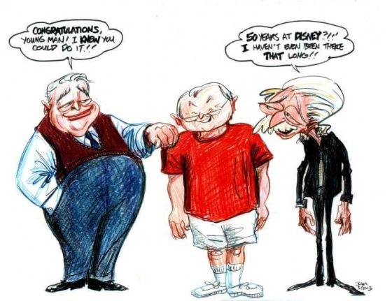 Eric Larson, left; Burny Mattinson, center; Joe Grant, right. (Caricature by John Musker)